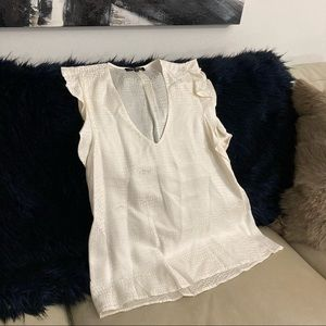 David Lerner NY Patterned Cream Silk Blouse Top S